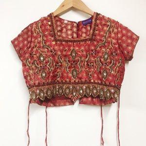 Vintage Embellished Crop Top